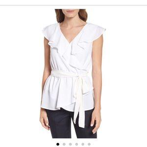 Halogen ruffle tie waist blouse
